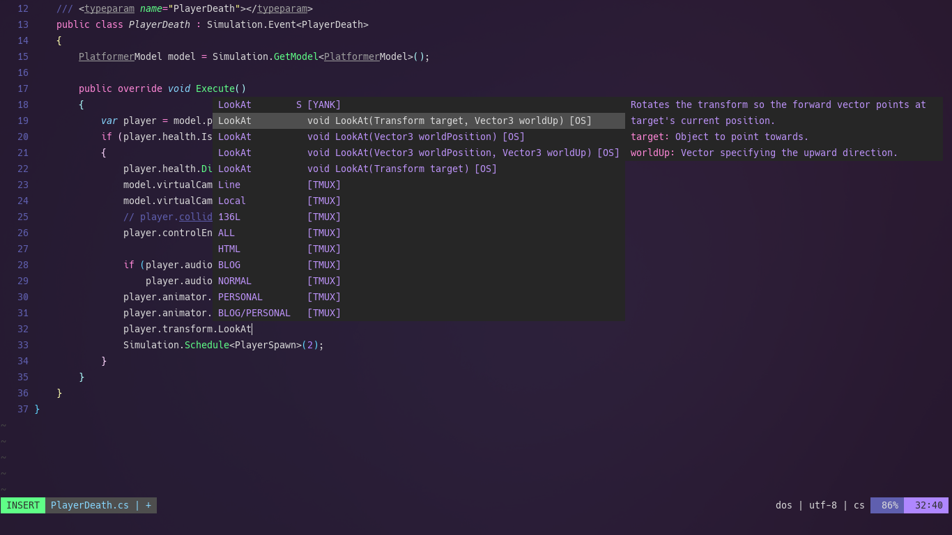 A Page screen shot of the Neovim text editor showcasing Intellisense autocomplete working with a Unity .NET c# file.