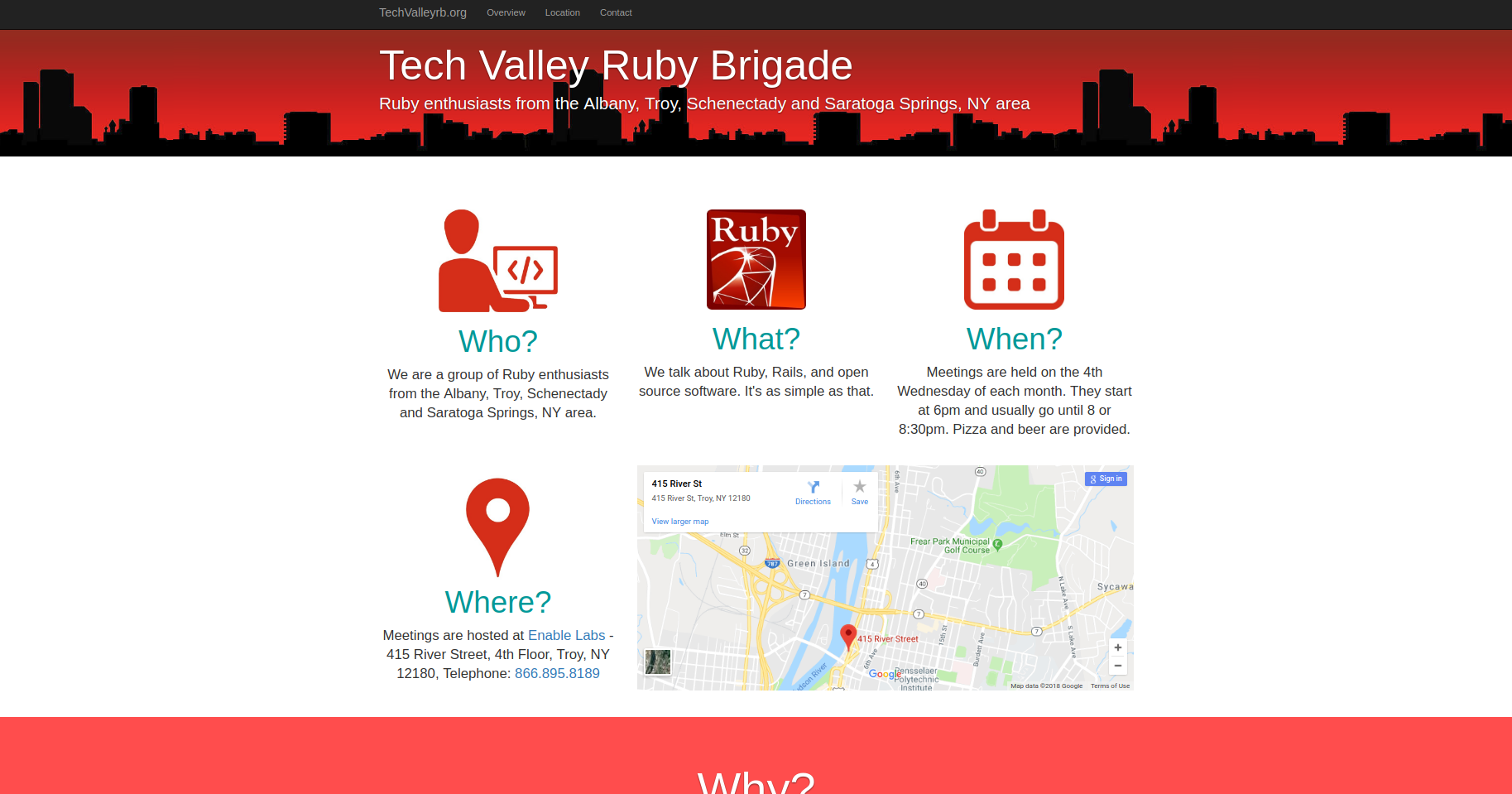 A photo of the Tech Valley Ruby Meet Up landing page.