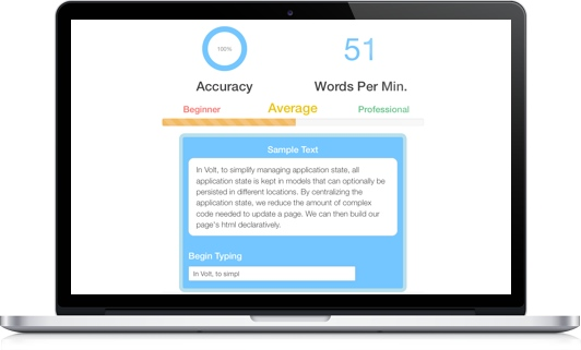 A photo of the Words Per Minute Typing Calculator demo app's landing page.